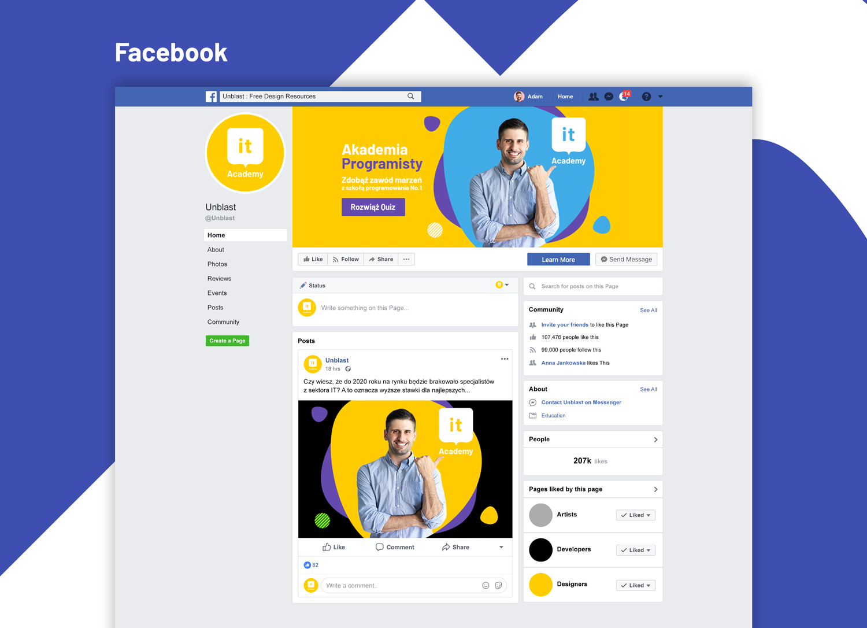 IT Academy projekt banera na facebooka